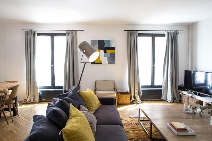 Paris 7e, quartier du Bon Marché : salon, vue d'ensemble